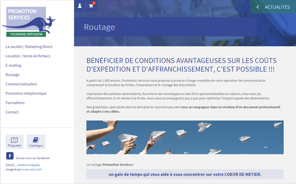 page routage site internet Promotion Services 38 Villemoirieu